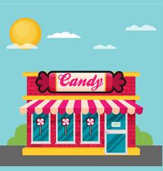 Facade of candy shop flat vector