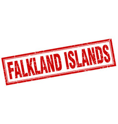Falkland islands red square grunge stamp on white vector