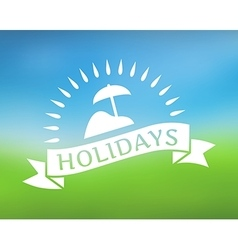 Holidays ribbon icon on nature background vector