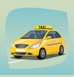 isolated yellow taxi car vector image