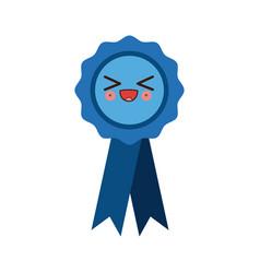 kawaii badge with ribbons winner medal vector image vector image