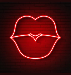neon kiss lips vector image
