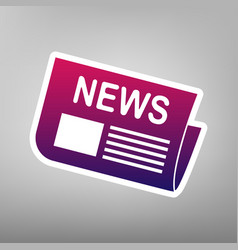 Newspaper sign purple gradient icon on vector