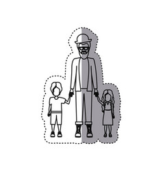people man with her children icon vector image