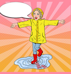 Pop art girl in rubbers running on puddles vector