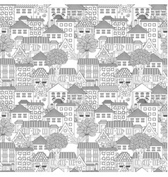 seamless texture with cute houses and trees for vector image