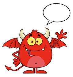 Smiling red devil cartoon character waving vector