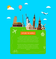 Travel background with famous world landmarks vector