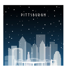 Winter night in pittsburgh night city vector