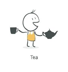 guy drinks tea vector image