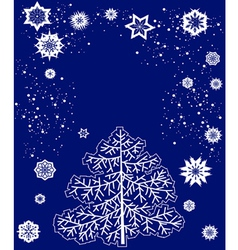 Card with christmas tree and snowflakes vector