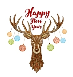 Happy new year reindeer with christmas balls on vector