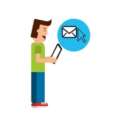 Character boy with tablet email cursor vector