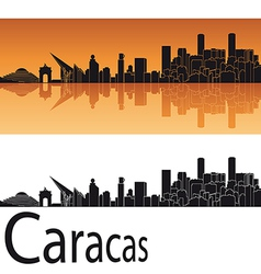 Caracas skyline in orange background vector