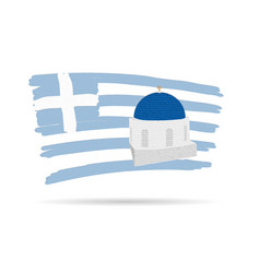 santorin island icon with greek flag in colorful vector image