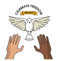 Celebrate freedom hands black and white pigeon vector