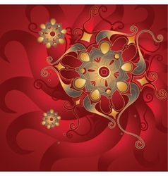 Red oriental background with gold ornament vector