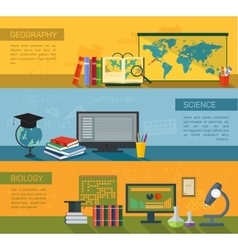 Online education flat horizontal banner set vector