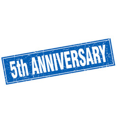 5th anniversary square stamp vector