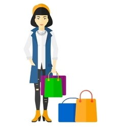 Buyer with shopping bags vector