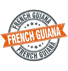 French guiana red round grunge vintage ribbon vector