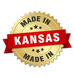 Made in kansas gold badge with red ribbon vector