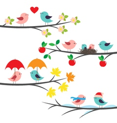 Seasonal branches and birds vector