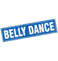Belly dance blue square grunge stamp on white vector