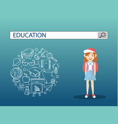 A lovely girl with education search engine bar vector