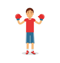 active boy teen boxer in boxing gloves cartoon vector image