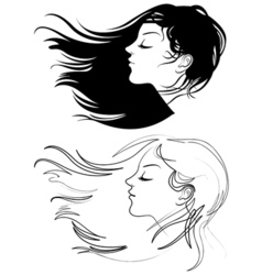 Beautiful girl with long hair Hair fluttering wind vector image