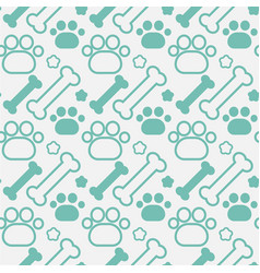 Bones and dog paw seamless pattern abstract vector