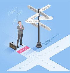 businessman standing at a crossroad vector image