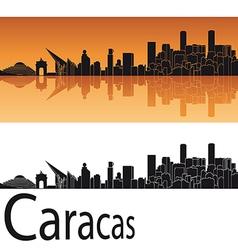 Caracas skyline in orange background vector