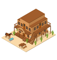 cartoon building saloon on a background isometric vector image
