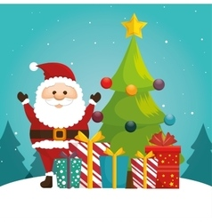 Cheerful santa tree ball and gift blue bakcground vector