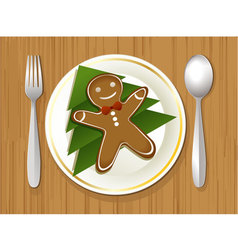 Christmas plate vector image vector image
