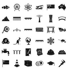 City bridge icons set simple style vector