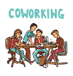 Coworking sketch vector