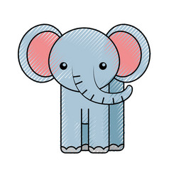 Cute scribble elephant cartoon vector