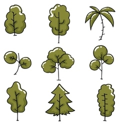 Doodle of tree simple collection vector