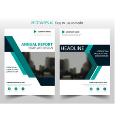 green abstract triangle annual report brochure vector image vector image