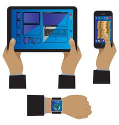 Hand with modern device gadgets vector image