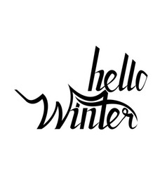 hello winter brush lettering calligraphy vector image vector image