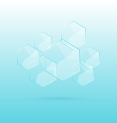 Hexagon transparent elements on blue background vector image
