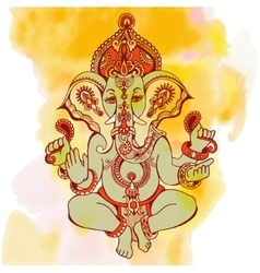 Hindu lord ganesha ornate sketch drawing on vector