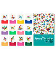 new year 2018 colorful mexican animal art calendar vector image