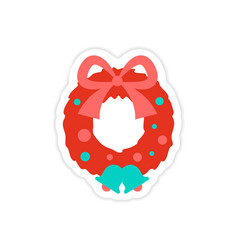 Paper sticker on white background christmas wreath vector