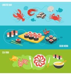 Seafood banner set vector