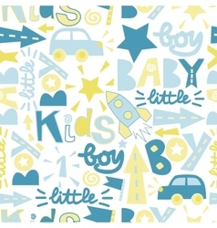 Seamless baby pattern with label boy baby little vector